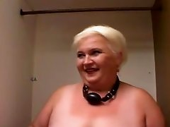 Blonde granny Andrea blows and gets banged doggy style