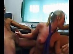Brit blonde secretary dp threesome