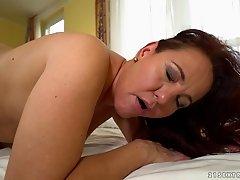 Mature Red Mary seduced by horny lesbian babe Olivia Nice