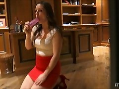 Skintight red skirt and high heels on a sexy dildo fucking girl