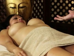 Luxury busty women in secret massage saloon