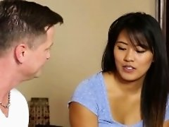Asian babe gets massaged