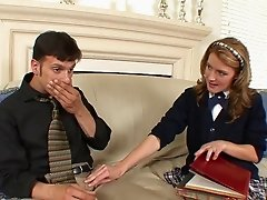 Lustful college girl Elli Foxx lets her BF fuck her mouth and vag