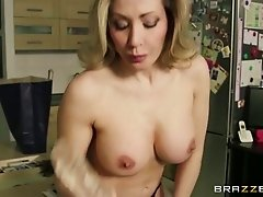 Gorgeous housewife having sex fun with her favorite dildo toy