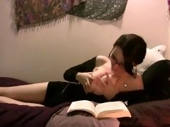 Buxom brunette milf with glasses drives her cunt to orgasm