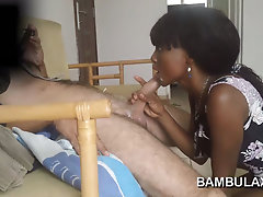 Horny African whore blowjob and cum in mouth!