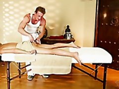 Bootyful light haired beauty gets massaged by naughty strong buddy