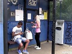 Sporty blonde teen girlfriend Lovita Fate swallows cum outdoors