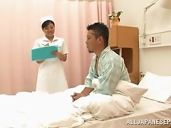 Japanese brunette nurse gives her patient awesome handjob