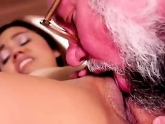 Dirty Grandpa Fucks a Teen Brunette