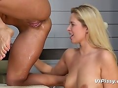 Two girlfriends Nikki Dream and Laura fuck each other and piss