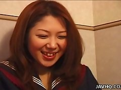 Nasty teen Himiko tries to satisfy her sex partner with tugjob