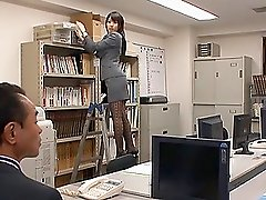 Adorable Asian babe in enticing lingerie getting slammed hardcore in the offce