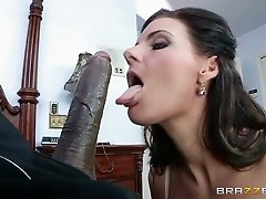 Stacked brunette mommy with giant boobs blows BBC with passion