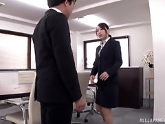 Curvy Japanese secretary Kase Kanako rides cock at the office