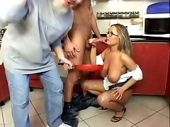 Sylvia Diamond loves sausages for dinner and she gives good fellatio