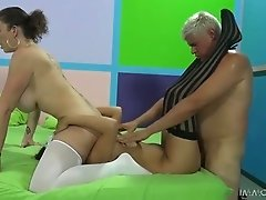 Lewd brunette Sara Jay enjoy ardent FFM threesome sex