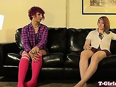 Twosome emo tgirl cumdrops while assfucked