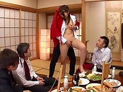 Japanese girl enjoys a gangbang with her co-workers