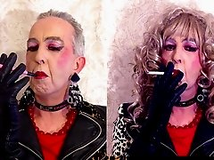 Smoking Sissy And Tranny Bimbo