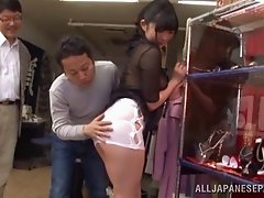 Satomi Nomiya, wearing a miniskirt, gets her pussy fingered