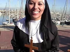 Horny Latina nun pussy fucked and creampied hardcore