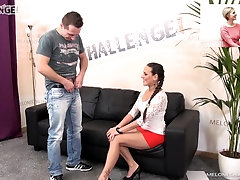 Mea Melone rides cock on the casting couch and eats a cumshot