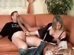Thick Girl In Nylons Giving A Handjob