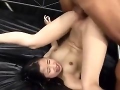 Cute Asian girl with tiny tits gets fucked rough by two boys