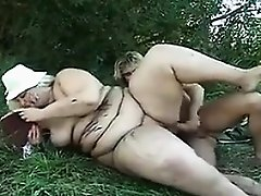 Big Blonde Woman Getting Dirty Outside