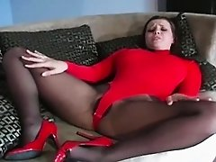 Fleshy pink flaps in pantyhose is a actually arousing show