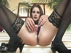 Monica hot brunette girl fingering pussy on the stairs