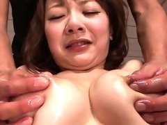 Excited whore get stripped and bushy pussy teased by 2 studs