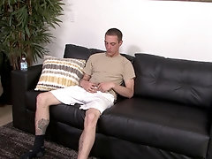 White well hung military gay guy in a solo masturbation session