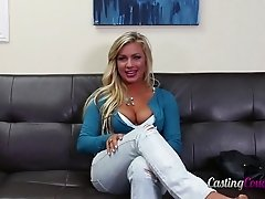 Hot blonde in jeans gets a good dicking for her casting scene