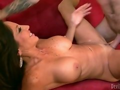 Full bodied brunette cougar gets eaten and rides her stud like a cowgirl