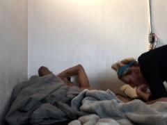 Naughty blonde teen sucks her boyfriend's dick on hidden cam