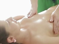 Sexy brunette lassie enjoys a massage fuck action