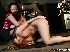 Playful curly chic dildo fucks her soaking twat in front of horny domina