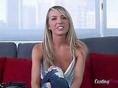 Chick strips on the casting couch and bends over for dick
