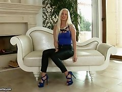 Leather pants look hot on the blonde chatting about her threesome
