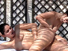 Lesbian outdoor fisting session with slutty Francesca and Stella