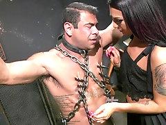 Horny tranny Khloe Kay makes a guy moan by fucking his butt