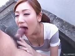 Outdoors face fucking action with immaculate Japanese amateur