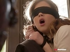 Blindfolded Devon Green gets her cunt plowed from behind