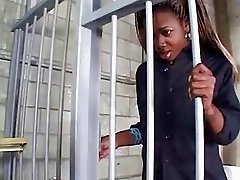 Black shemale prisoner fucks her jailer