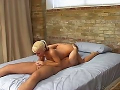 Blond spoiled chick Tasia gives steamy DT to her stud in 69 pose