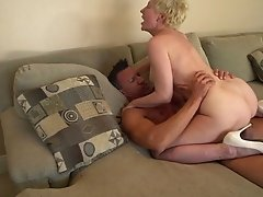 Horny granny is thrilled to have a hard cock inside her snatch