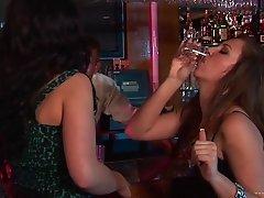 Drunk bartender gets slammed in wild interracial foursome
