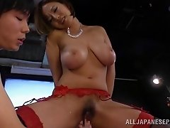 The amazing, busty Ruri Saijo gets her hairy hole hammered
